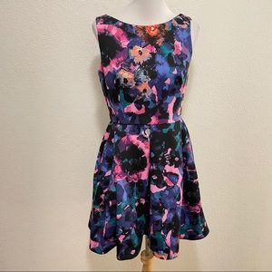 Just Taylor Watercolor Fit Flare Sleeveless Dress